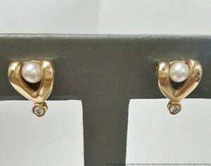 Vintage 14K Yellow Gold Cultured Akoya Pearl Genuine Natural Diamond Earrings
