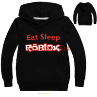 "Game Roblox Kids Cartoon Hoodies "" Eat Sleep "" Sweatshirt Clothing Coat"