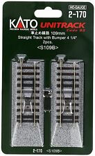 """KATO HO SCALE STAIGHT TRACK with BUMPER 109mm 4 1/4"""" (2 PC) NEW 2-170"""