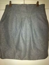 Cue Size 12 Grey Wool Blend Fully Lined Skirt with Silver Metallic thread
