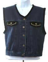 Roper Women's Size Medium Cotton Blue Denim Vest W/ Velvet Trim
