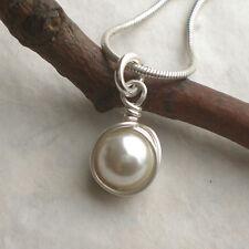 925 Silber Muschelkern Perlenanhänger weiß Anhänger Perle Sterlingsilber r283