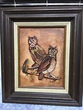 Original Owl Canvas Painting In Wooden Frame Signed