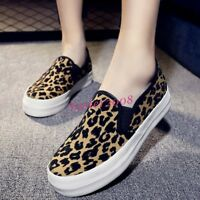 Fashion Women's Leopard Canvas Flats Slip On Casual Comfort Driving Loafer Shoes