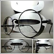 Men's Women VINTAGE RETRO Style Clear Lens EYE GLASSES Round Black Fashion Frame