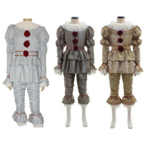 Halloween Stephen Kings Pennywise Clown Cosplay Costume Men Women Kids Suits