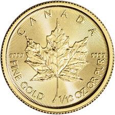 2021 Canada Gold Maple Leaf 1/10 oz $5 - Bu