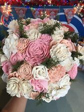 Brand New Wood Southern Bloom Carissa Flower Pink And White XL Wedding Bouquet