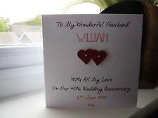 Handmade Personalised Ruby 40th Wedding Anniversary Card Husband Wife Couple
