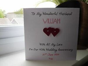 Personalised Ruby 40th Wedding Anniversary Card Husband Wife Couple