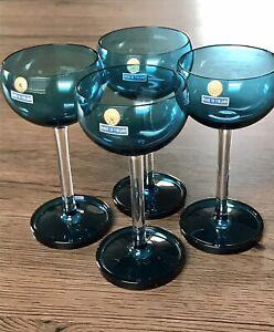4 Nanny Still Harlequin Turquoise Liqueur Glasses 1950 Arabia Finland Unused