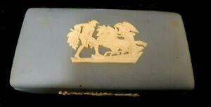ANTIQUE WEDGEWOOD JASPER WARE BLUE VANITY TRINKET BOX JEWELRY BOX DISH