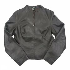 Jon Womens Chocolate Brown Zip Up V-Neck Genuine Leather Jacket Size Small