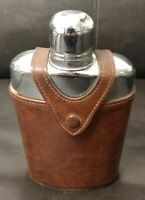 Vintage Glass Flask w/Leather Case by Bosca  Drinking flask
