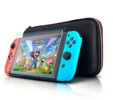 Nintendo Switch Console Black Travel Bag Carry Case & Glass Screen Protector
