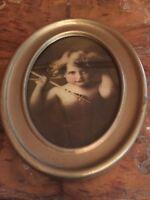 Antique 1897 Framed Cupid Awake Print