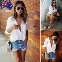 AU Women V Neck Long Sleeve Blouse T Shirt White Loose Size Pocket Shirts Tops