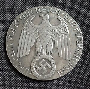 WW2 GERMAN COIN REICHSMARK 1938 REICHSKANZLER HITLER 50mm