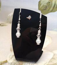 Traje de novia blanco perla de cristal cuentas bicónicas cristal pendientes perforados Boda bridesma