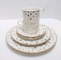 Sakura Galaxy Cups Plates Saucers White Porcelain 14K Gold Stars Service for 2
