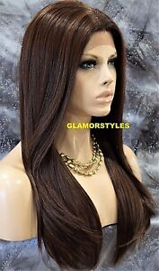 HUMAN HAIR BLEND LACE FRONT FULL WIG LONG STRAIGHT LAYERED BROWN AUBURN MIX NWT
