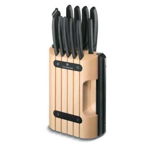 NEW Victorinox 11 Piece Classic Cutlery Block Set 11pc Beechwood/Black