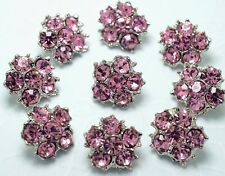 10 Sparkling 12mm Pink Glass Rhinestone Silver Tone Metal Sewing Buttons N019