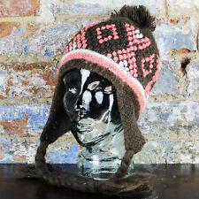 Ignite Bobble Tassle hat warm winter Beanie in brown one size