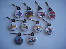 10 Spiderman party favor zipper pulls great for backpacks and coats goodie bags