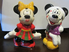 RARE Disney Minnie Mickey Mouse Christmas Salt & Pepper Shaker Ceramic Porcelain