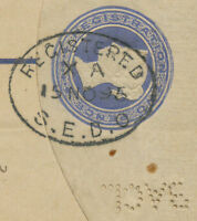 2441 1895 QV 2 D blue postal stationery registered env LONDON INVERTED PERFIN R!