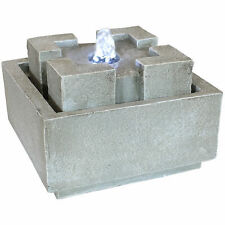 Sunnydaze Square Dynasty Bubbling Indoor Tabletop Fountain - 7-Inch Square