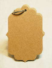 """Bare Chipboard Small Bracket Tag Album 3-1/16"""" x 4-7/16"""" 10 pages 1 ring"""