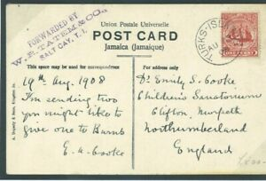 TURKS & CAICOS Card FORWARDING AGENT VIOLET CACHET Maritime GB Northum 1908 M11d