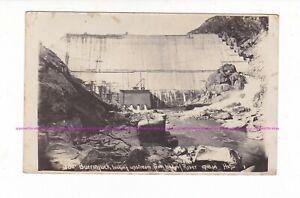 BURRINJUCK DAM WALL 1914 looking upstream  RPPC Howard & Shearsby Yass AUSTRALIA