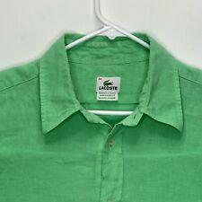 Lacoste Mens Designer Linen Shirt Green 44
