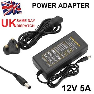 12V 5A Charger Power Supply Adapter 3528 5050 LED Strip Light 3 Pin UK Plug
