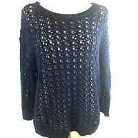 Joe Fresh  Womens Size L Navy Blue  Crew Neck Cable Knit Sweater Long Sleeve