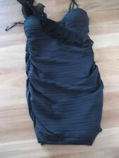LADIES CUTE BLACK LINED ONE SHOULDER POLYESTER/ AMIDE DRESS BY FEVER SIZE 12