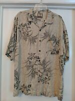 Tommy Bahama Men's 100% Silk Hawaiian Camp Shirt L floral pattern