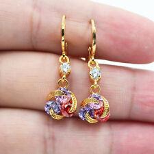 18K Yellow Gold Filled Rainbow Swirl Hollow Topaz Zircon Dangle Earrings Women
