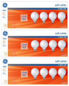 Lot of 12x General Electric 40w G25 Incandescent Light Bulbs Cozy Relaxing White