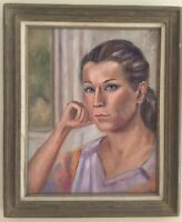 Vintage Portrait Of A Beautiful Young Woman Signed Framed