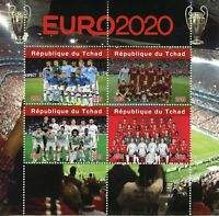 Chad Football Stamps 2019 MNH Euro 2020 Manchester City Liverpool Sports 4v M/S