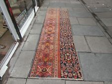 Antique Fragment Traditional Hand Made Oriental Wool Blue Red Runner 323x86cm