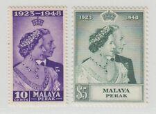 MALAYA PERAK  1948 ROYAL SILVER WEDDING SG 122/123  MNH PERFECT