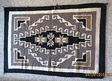 """VINTAGE -  Early 1940s Navajo Handwoven 45"""" x 30"""" Two Grey Hills Wool Rug"""