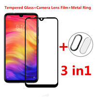 For Xiaomi Redmi Note 7 9D Full Screen Protector +Camera Lens Glass +Metal Ring