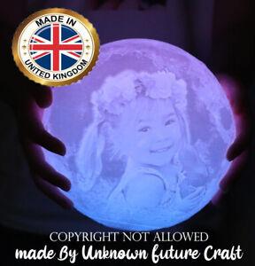 Personalized Moon Night light Lamp 3D Printed Custom Photo USB Charging 15cm