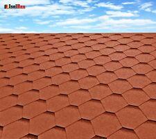 Dachschindeln Hexagonal Dreieck Form 3m?  Ziegelrot (22Stk) Schindeln Dachpappe